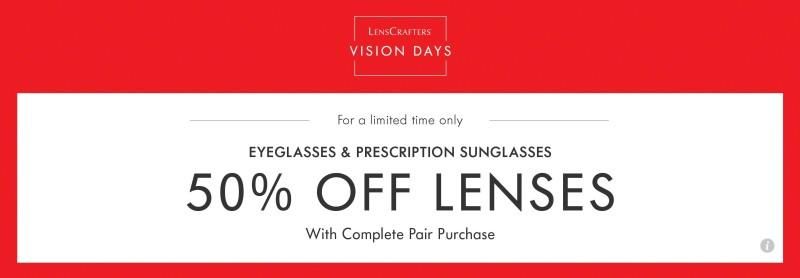 Save 50% off lenses with a purchase of a frame. from LensCrafters