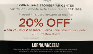 Save 20% when you buy 2 or more from Lorna Jane Active Living