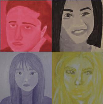 monochromatic self-portraits from Beachwood Schools students