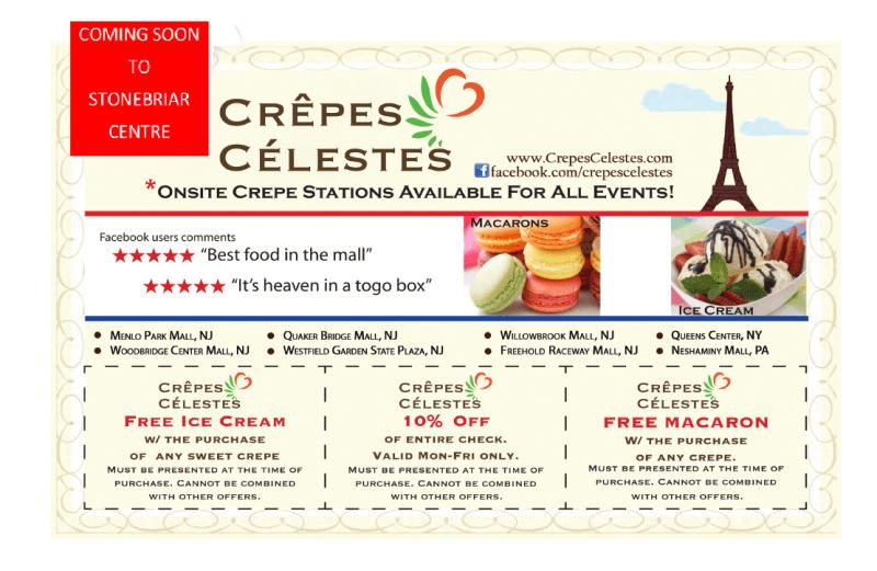 Free Ice Cream/ 10% off/ Free Macaron
