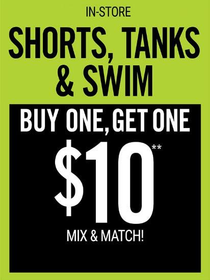 Tanks, Shorts & Swim Buy 1 Get 1 for $10 from Hot Topic