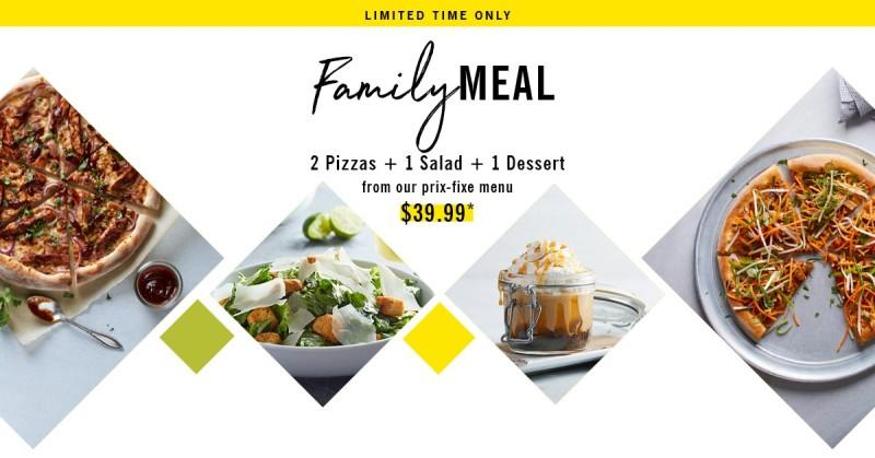 Family Meal for $39.99! Limited Time Only! from California Pizza Kitchen