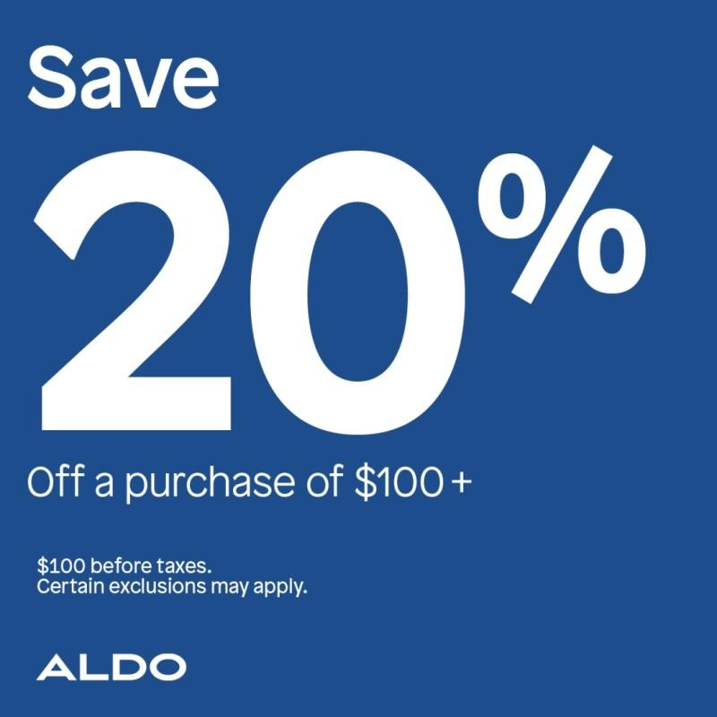 Save 20% off a purchase of $100.00 or more. from ALDO Shoes