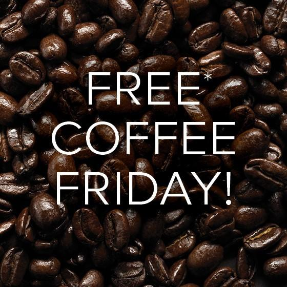 coffee beans with white text on the top saying free coffee fridays