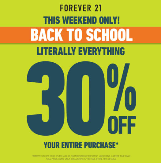 30% Off Literally Everything* from Forever 21