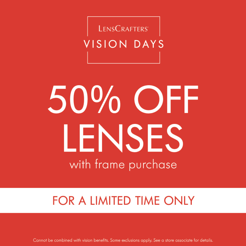 50% Off Lenses With Frame Purchase at Lenscrafters from LensCrafters