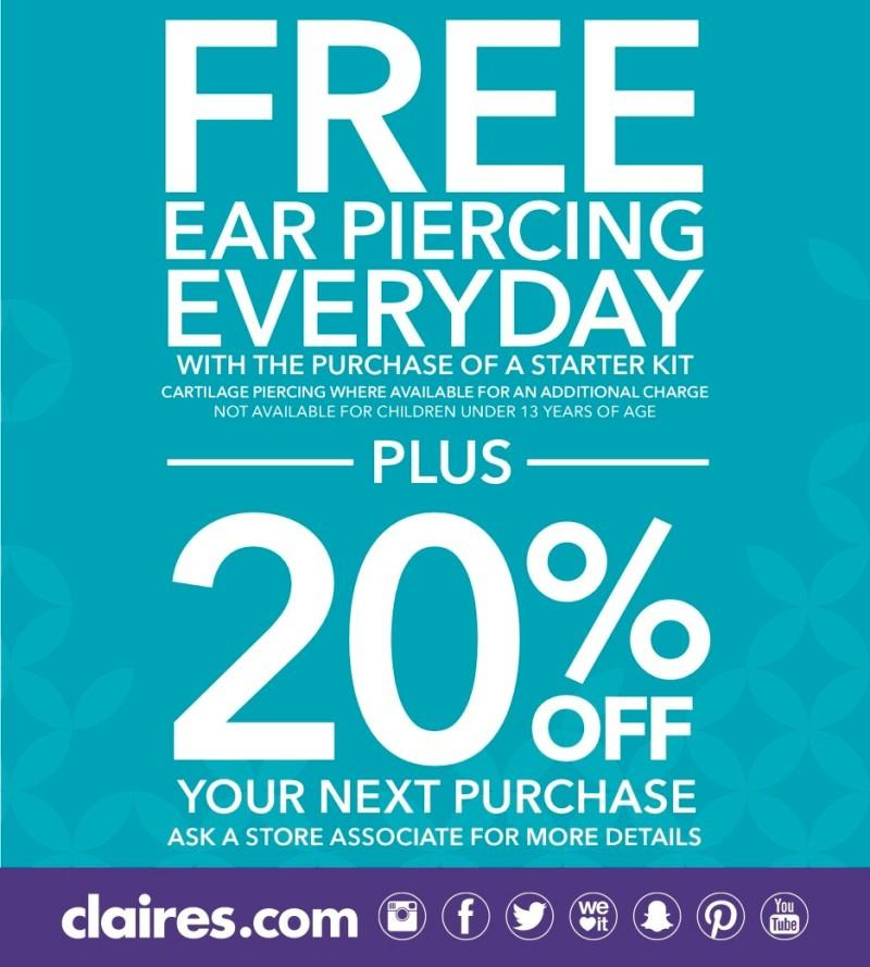 Free Ear Piercing and 20% Off from Claire's