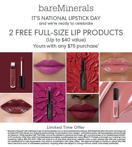 2 FREE Lip Products from bareMinerals