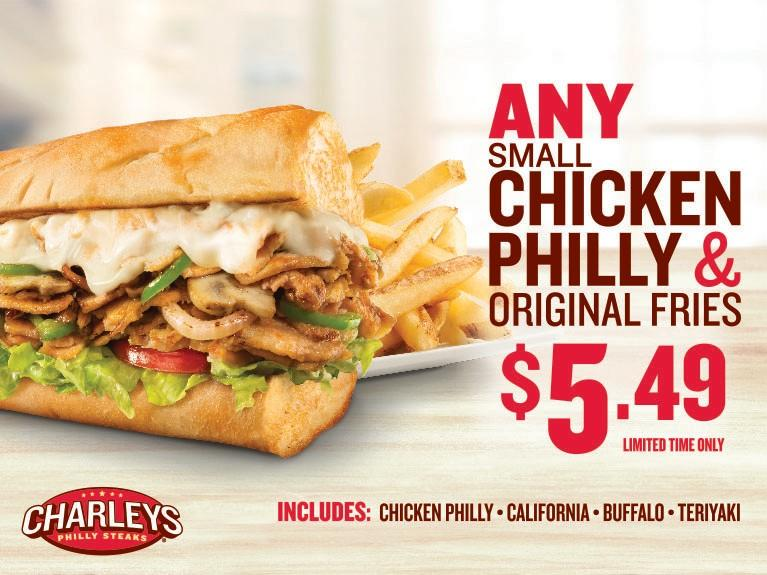 Any Small Chicken & Fries for $5.49 from Charley's Grilled Subs