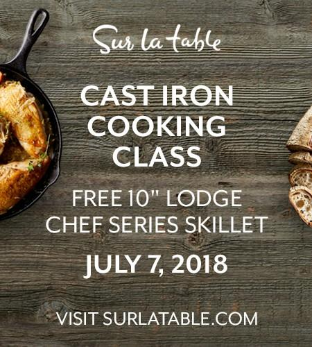 a flyer with sur la table cast iron cooking class written on it.