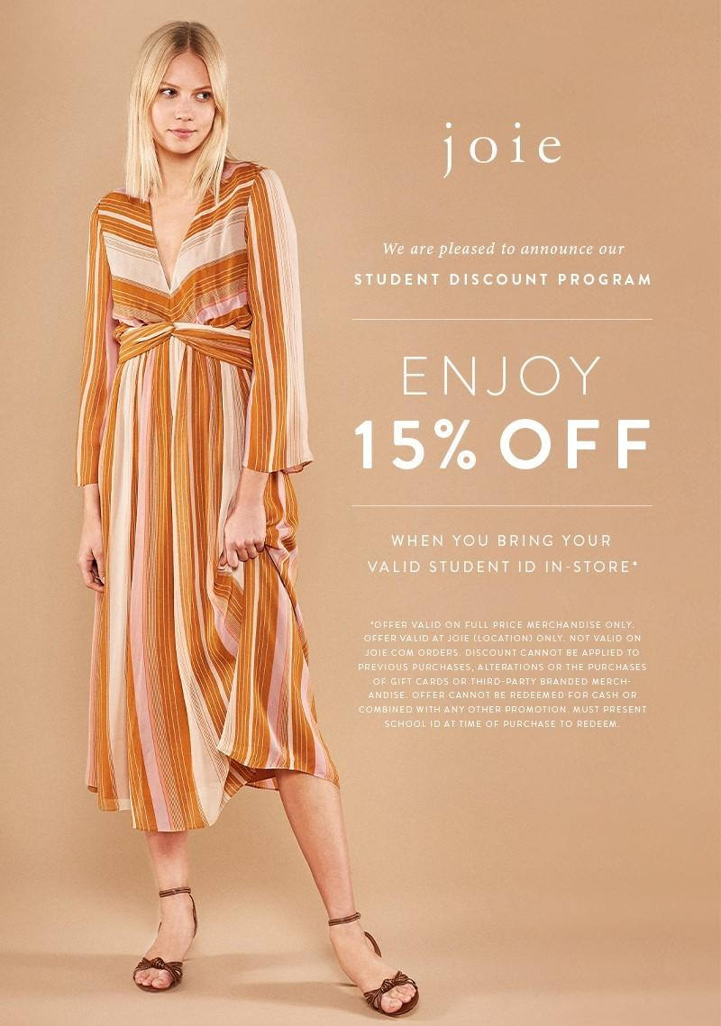 We are Pleased to Announce Our Student Discount Program! from Joie