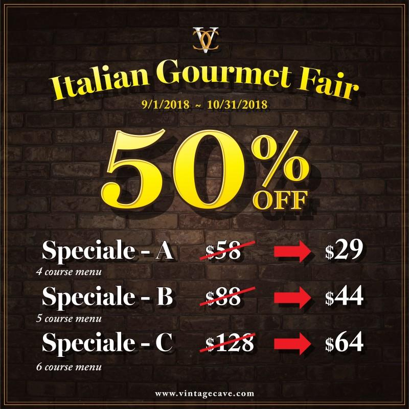 Italian Gourmet Fair from Vintage Cave Café