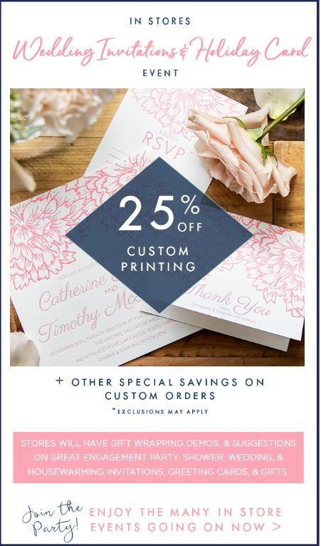 25% Off Custom Printing On Wedding Invitations and Holiday Cards!*