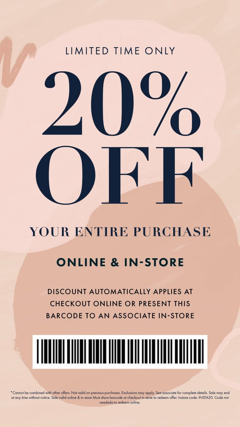20% off Entire Purchase from Bohme Boutique