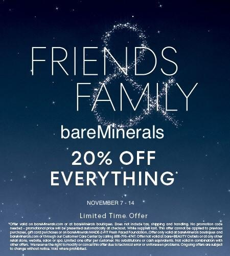 Friends and Family Discount from bareMinerals