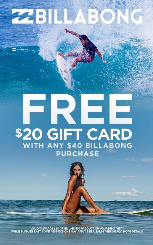 Free $20 Billabong Gift Card