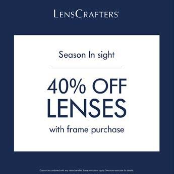 Save 40% Off Lenses with Frame Purchase from LensCrafters