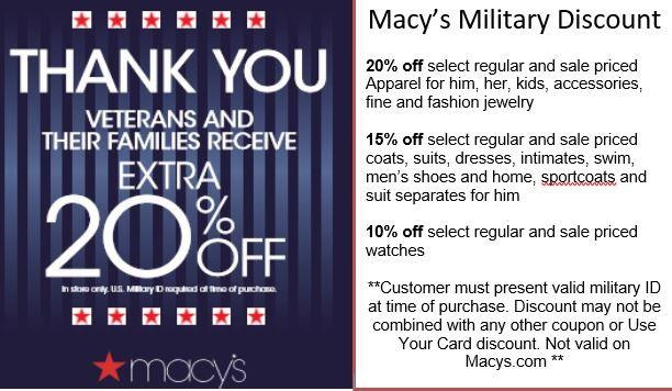 Macy's Military Discount from macy's