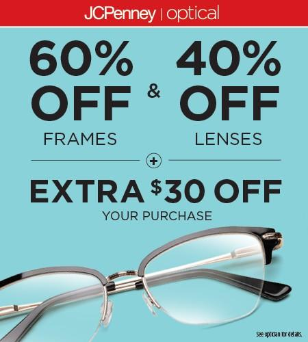 60% off frame & 40% off lenses + Extra $30 from JCPenney Optical