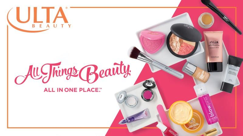 Ulta Beauty promotional image of make-up and beauty products with text that says Ulta Beauty All Things Beauty in One Place