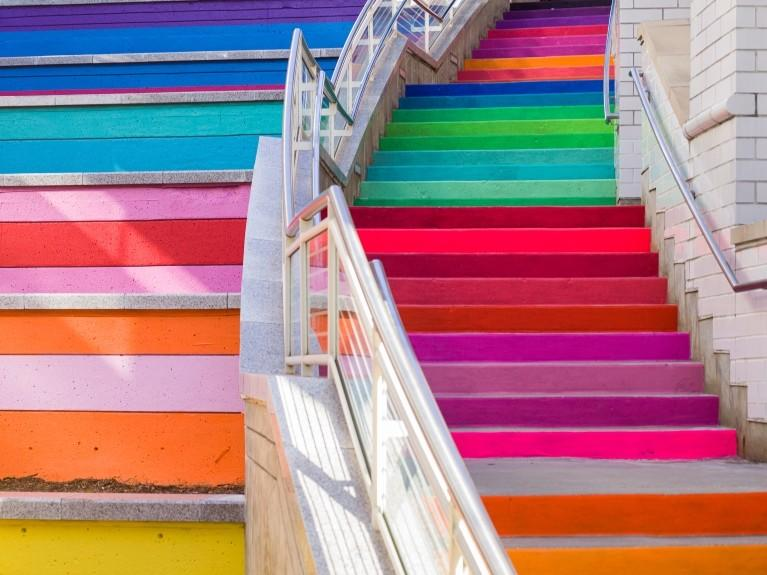 rainbow stairs district food hall oakbrook center