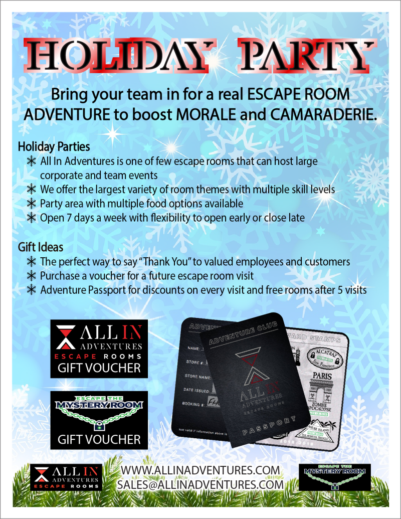 Corporate Holiday Party Discounts from All In Adventures