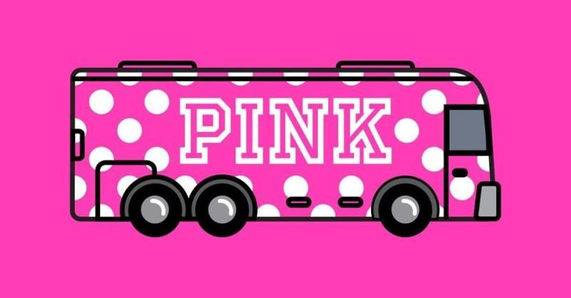 Pink bus with the word Pink written on it with pink background