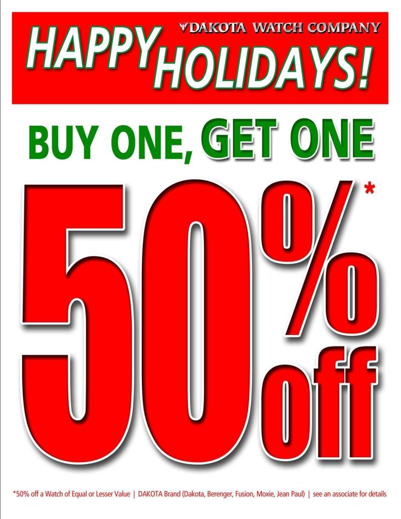 Buy One, Get One 50% Off! from Dakota Watch Company