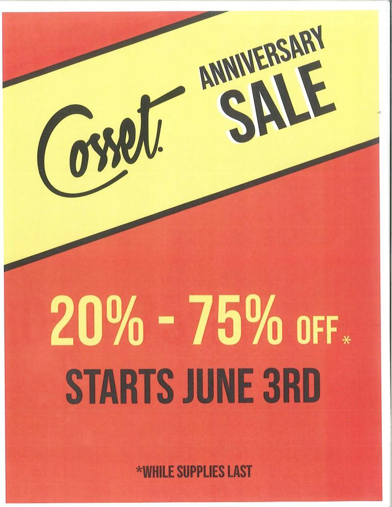 Anniversary sale from Cosset