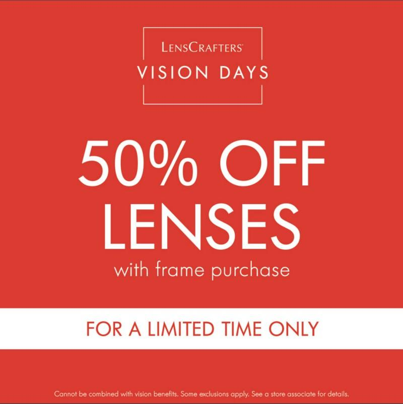 Save 50% Off Lenses from LensCrafters