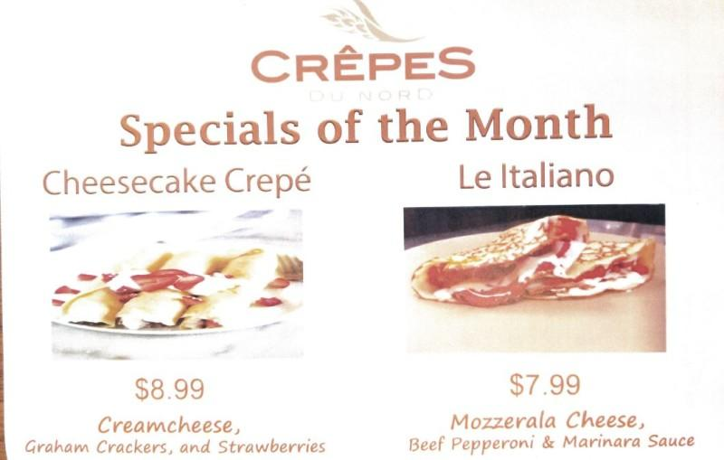 Specials of the Month from Crepes Du Nord