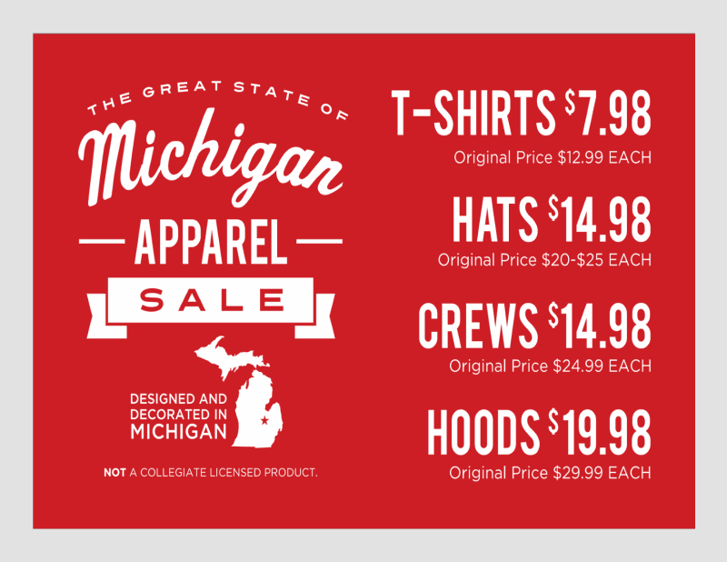 Michigan Apparel Sale from Campus Den
