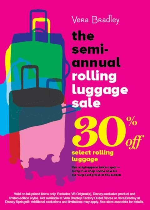 Semi-Annual Rolling Luggage Sale from Vera Bradley