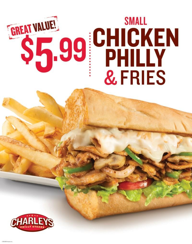 $5.99 Chicken Philly at Charley's! from Charleys Philly Steaks
