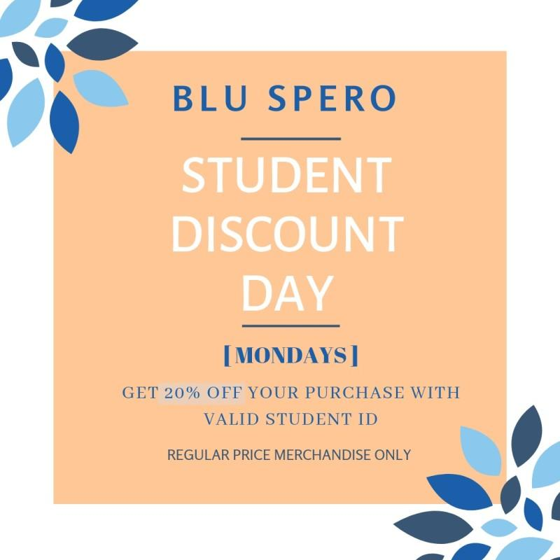 Student Discount Days at BluSpero