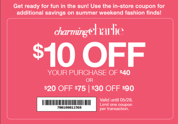 Memorial Day Coupon from Charming Charlie