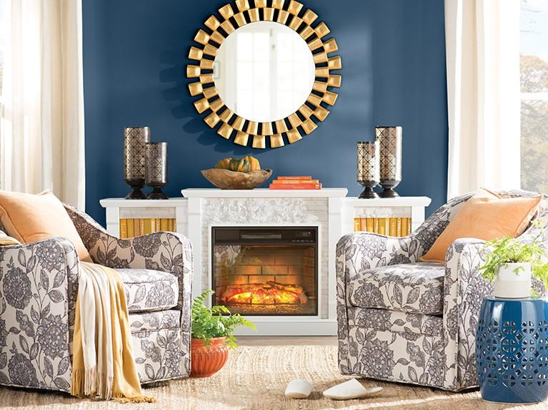 Living room decorated in Wayfair products