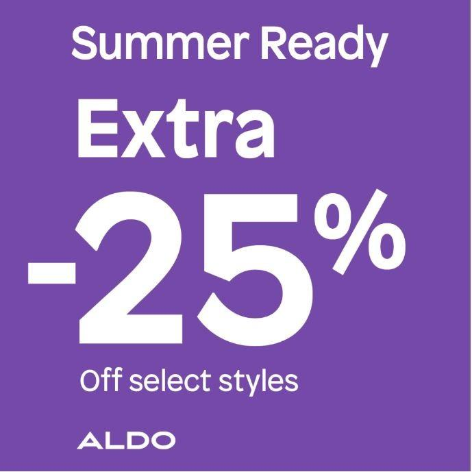 Get an extra 25% off on select styles* from ALDO Shoes