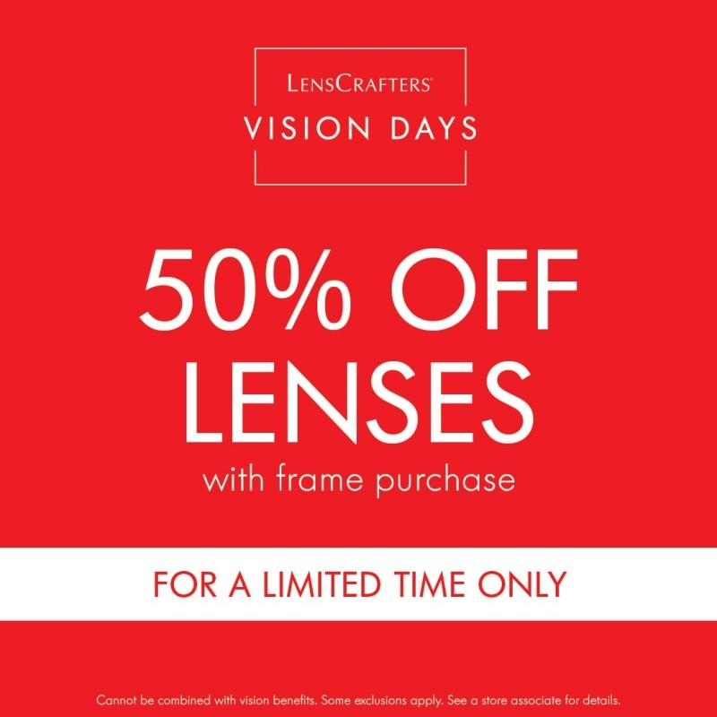 50% Off Frames and Lenses: Limited Time Only from LensCrafters