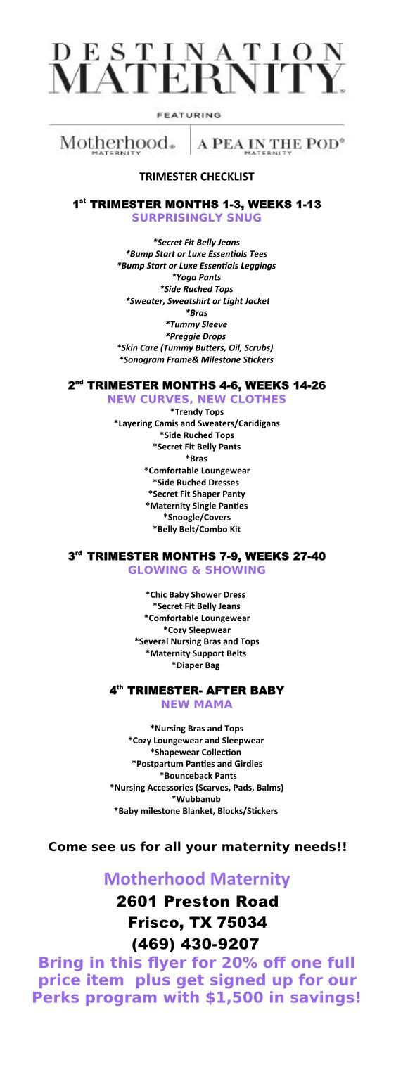 Trimester Checklist and 20% off! from Motherhood Maternity